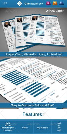 One Resume/CV — Photoshop PSD #cv #trendy • Available here → https://graphicriver.net/item/one-resumecv/3941584?ref=pxcr
