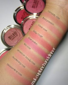 Milani Rose Blush Swatches-try romantic rose Makeup Swatches, Blush Makeup, Drugstore Makeup, Skin Makeup, Drugstore Blush, Makeup Needs, Love Makeup, Makeup Inspo, Makeup Inspiration