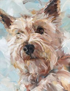 'Madame', oil on panel by Dorus Brekelmans 2015 Animal Paintings, Animal Drawings, Art Drawings, Dog Artwork, Illustration Art, Illustrations, Cairn Terriers, Dog Portraits, Art Techniques