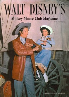 *FESS PARKER (who played: DAVY CROCKETT) & ANNETTE FUNICELLO ~ MICKEY MOUSE CLUB MAGAZINE ~ by: Walt Disney