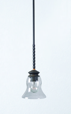 Hunter Burnell Mini Pendant with Sanded Bronze Finish, Brass Accents and a Clear Seeded Glass Shade.