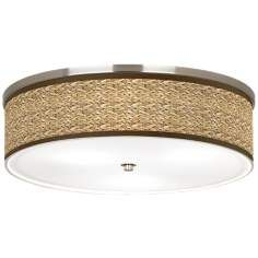 """Seagrass Giclee Nickel 20 1/4"""" Wide Ceiling Light"""