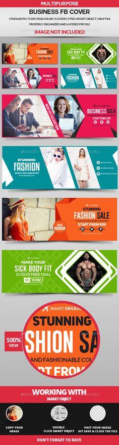 Facebook Cover - 4 Design Templates PSD. Download here: https://graphicriver.net/item/facebook-cover-4-design/17072228?ref=ksioks