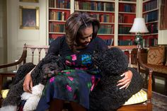 First Lady Michelle Obama, seated with Obama family pets Bo, left, and Sunny, tapes a video for Ellen DeGeneres' 56th birthday in the White House Library, Jan. 28, 2014.