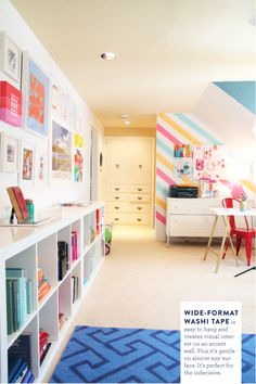 "That ""Washi Tape Wall"" is WICKED!!! ♥ ... ""Wide-Format Washi Tape is easy to hang and creates visual interest on an accent wall. Plus it's gentle on almost any surface. It's perfect for the indecisive."""