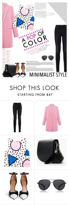 """""""Pop of Pink"""" by lisalockhart ❤ liked on Polyvore featuring 7 For All Mankind, Anja, MANGO, Givenchy, The Row and Minimaliststyle"""