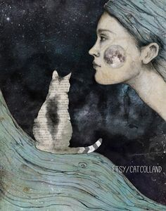 Night Cat fantasy - mixed media illustration