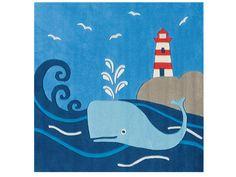 Dětský kusový koberec Velryba Spirit-Glowy 3096/53, modrý
