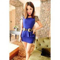 $6.45 Slimming Fit Scoop Neck Dress with Sequin Embellished for Women (without Belt)