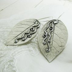 Precious Metal Clay Artisan Earrings, Fine Silver Leaves, Handmade OOAK