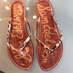 Leopard print flip flops Good, used condition. Price only negotiable in bundle. I dont trade. Sam Edelman Shoes Sandals