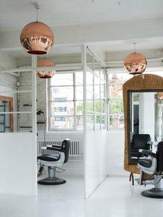 Copper Pendants by Tom Dixon in Fourth Floor Salon in London