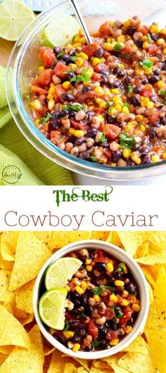 Cowboy Caviar (Texas Caviar) - - Cowboy caviar is a quick and easy appetizer that everyone will love, and it is perfect for summer since there is no cooking involved. Best Appetizer Recipes, Quick And Easy Appetizers, Tailgating Recipes, Tailgate Food, Appetizers For Party, Mexican Food Recipes, Healthy Recipes, Sweet Recipes, Salad Recipes