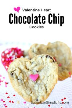 Valentine Heart Chocolate Chip Cookies - the Perfect homemade gift for your sweetheart.  Soft, chewy and delicious!  A Valentine's Day cookie recipe worth pinning!