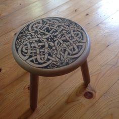 Gorgeous pyrography celtic stool