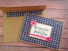 Friendship card, Blank handmade card, handmade card, pink and blue card, homemade cards