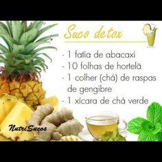 Suco detox Detox Recipes, Healthy Recipes, Sumo Natural, Smoothies, Healthy Life, Healthy Eating, Bebidas Detox, Menu Dieta, Juicing For Health