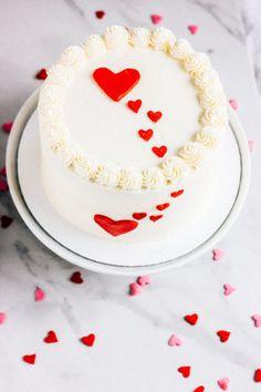 Raspberry Vanilla Valentine's Cake — The Whole Bite Pretty Cakes, Beautiful Cakes, Anniversary Cake Designs, Simple Cake Designs, Valentines Day Cakes, Cake Ingredients, Love Cake, Yummy Cakes, Cupcake Cakes