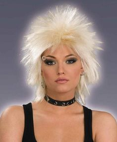 80s Rock Chick Blonde Costume Wig Compliment your 80s costume theme with this short spiky blonde 80's womens hairstyle.  You will look and feel amazing wearing this wig. www.thewigoutlet.com.au