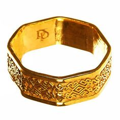 PerePaix Mens Octagonal Ring 14K Yellow Gold Fine by PerePaix