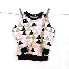 Jumper | Triangles, pink, gold, black, white { Description } • Soft, stretchy sweat knit baby jumper • 95% cotton, 5% elastane • Graphic pattern • Unisex { Notes } • All fabrics used are washed and pre-shrunk • Wash at 30C, inside out • All the items in my shop are handmade and