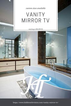 The Vanity Mirror TV is a complete solution with a Samsung TV and Vanishing Vanity Mirror with a mounting system that does not necessarily have to be recessed for a perfect look. Starting at $3599.95 and the ability to customise the mirror size, it is sure to fit any bathroom! #vanity #bathroom #bathroomideas #dreambathroom #samsung #luxury #mirror