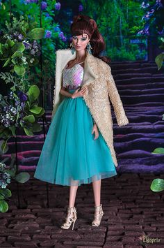 ELENPRIV beige sequined cardigan for Fashion royalty FR2 NuFace Barbie and similar body size dolls by elenpriv on Etsy