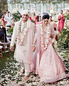 Do you think Only Red Lehenga is for Brides ? Gorgeous brides show how to rock your wedding in a Pink Bridal Lehenga. Indian Bridal Outfits, Indian Bridal Lehenga, Indian Bridal Wear, Indian Dresses, Bridal Dresses, Indian Wedding Couple, Indian Bride And Groom, Bride Groom, Indian Weddings
