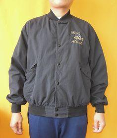Dunbrooke Pla-Jac Jacket Vintage 80s Snap Button Down Sport Black Jacket L Size Made In USA (26/04) by InPersona on Etsy