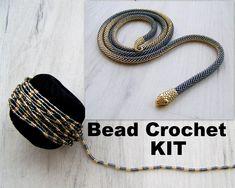 Ombre Snake Necklace Kit - Bead crochet long Serpent Necklace Kit - Seed Beads Kit in Shiny black and gold - Beadwork serpent necklace Kit Snake Necklace, Seed Bead Necklace, Rope Necklace, Seed Bead Bracelets, Beaded Necklace, Seed Beads, Diy Bracelet, Hoop Earrings, Crochet Diy