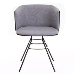 la palma - Cut Armlehnstuhl gepolstert mit Eiffelturmgestell - grau/Stoff Jumper 2 013/Gestell schwarz lackiert/für In- und Außenbereich geeignet