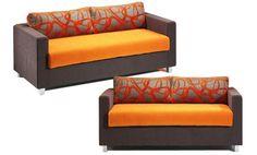 Sofas dos y tres plazas. Sofas tapizados en tela.Sofas de colores combinados muy llamativos
