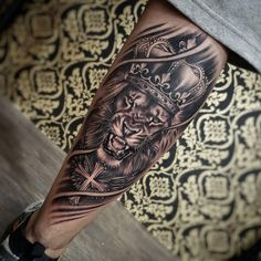 Lion Leg Tattoo, Lion Tattoo With Crown, Tiger Tattoo Sleeve, Lion Forearm Tattoos, Full Leg Tattoos, Lion Tattoo Sleeves, Skull Girl Tattoo, Lion Head Tattoos, Half Sleeve Tattoos For Guys
