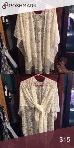 Stevie Nicks style cream shawl Beautiful cream, lace fringed shawl. Great for summer festival goers. Boho chic. Worn and loved very much. Delicate fabric. Accessories Scarves & Wraps