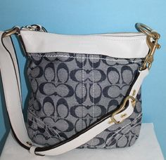 Pre Loved Coach Signature Denim Cross Body 10703. Starting at $15 on Tophatter.com! Coach Handbags, White Leather, Cross Body, Leather Crossbody, Denim, Coach Purses, Jeans