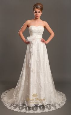 lindadress.com Offers High Quality Ivory Lace Strapless Sweetheart Wedding Dresses Vintage With Flowers,Priced At Only USD USD $198.00 (Free Shipping)