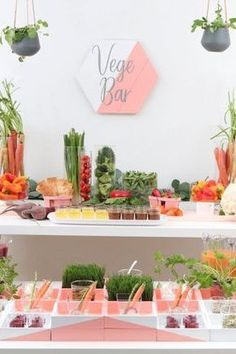 This colorful and healthy food bar option is perfect for wedding receptions, showers, or bachelorette or birthday parties! Get all of the pretty DIY inspiration to organize and serve your vegetables and dips now at fernandmaple.com!