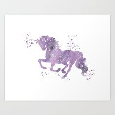 Unicorn, Purple, Pink, Watercolor...