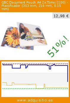 GBC Document Pouch A4 2x75mic (100) - Plastificador (303 mm, 216 mm, 0.15 mm) (Productos de oficina). Baja 51%! Precio actual 12,98 €, el precio anterior fue de 26,44 €. http://www.amazon.es/GBC-Document-Pouch-2x75mic-Plastificador/dp/B000I6LYCO%3FSubscriptionId%3DAKIAIM4UZAKNORFTEEUQ%26tag%3Dius-21%26linkCode%3Dxm2%26camp%3D2025%26creative%3D165953%26creativeASIN%3DB000I6LYCO