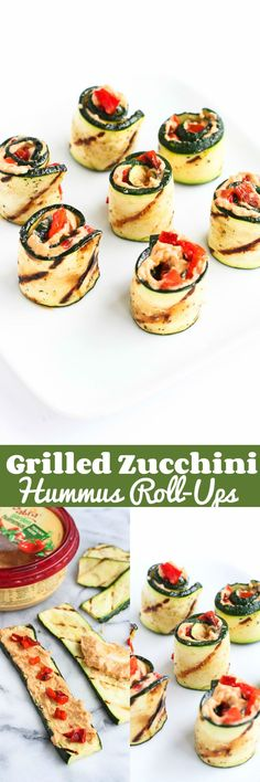 Grilled Zucchini Hummus Roll-Ups…Healthy, easy and pretty summertime appetizer! 43 calories and 1 Weight Watchers SmartPoints                                                                                                                                                     More