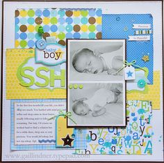 2 photo baby boy ...Layout by Gail Lindner using Doodlebug