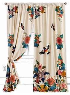 Soaring Starlings Curtain - modern - curtains - Anthropologie