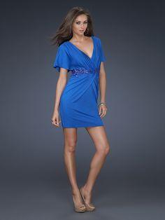 Sheath Royalblue Short Sleeve Deep V-neck V Back Mini Prom Dress With Embellished Trim