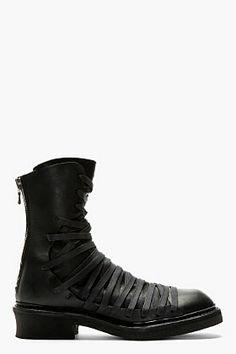 JULIUS Black Overlaced Combat Boots $1700