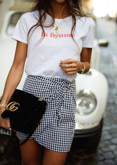 Spring style. This gingham skirt, Gucci Marmont bag and tshirt are so cute together. Summer outfit. summer style. summer look. outfit idea. gingham outfit