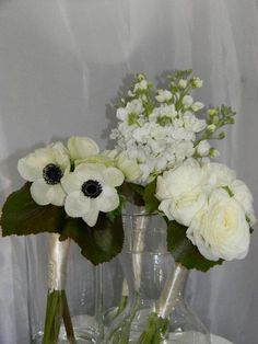 deconstructed bridal bouquet for the girls - each had  cluster of one flower per bouquet to match big bad bridal