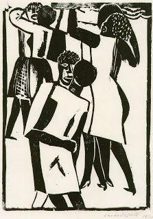 """SEGALL - """"Baile de negros"""" - xilogravura 1930"""