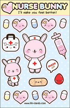 Nurse Bunny Time Sticker Sheet by *A-Little-Kitty