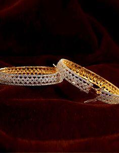 #Bangles, #Bracelets & #Kadas - Gold Plated Bangles With American Diamonds (Set Of 2) Costs Rs. 5,000. #Jewellery. BUY it here: http://www.artisangilt.com/jewellery/bangles-bracelets-kadas/gold-plated-bangles-with-american-diamonds-set-of-2.html?ref=pin