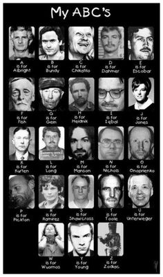 serial killers this is creepy but a little funny Paranormal, The Babadook, Kings & Queens, Das Abc, Mafia, Forensic Psychology, Forensic Science, Evil People, Crazy People